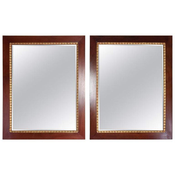 Shop Pair of Italian Vintage Mahogany Gold Leaf Mirrors, 1920s - Spirit Gallery