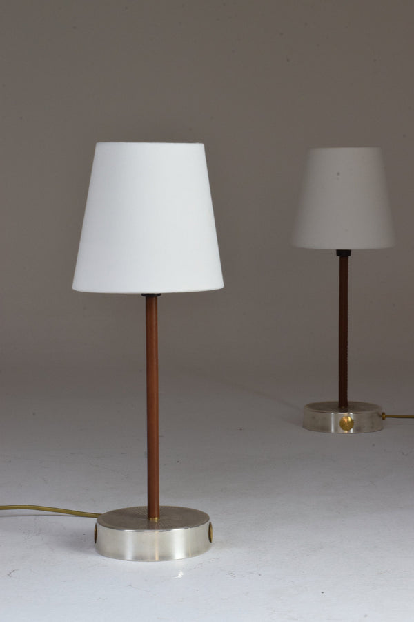 Shop Pair of Leather and Silvered Brass Lamps, Confinement Collection by JAS - Spirit Gallery