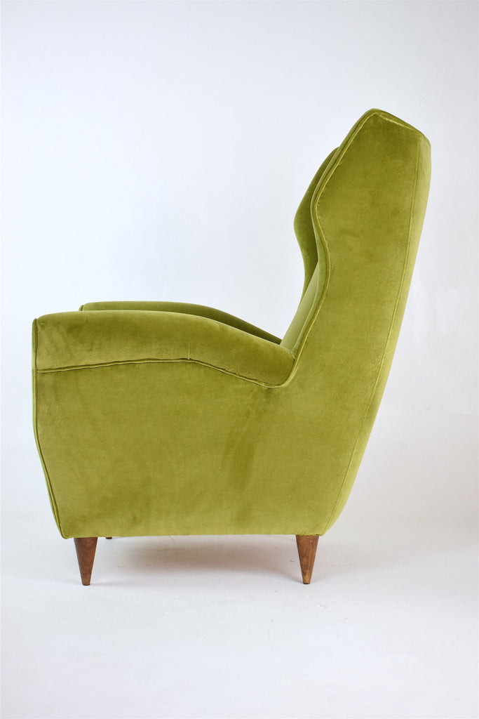 Shop Pair of Mid-Century Italian Green Velvet Wing Armchairs, 1950s - Spirit Gallery