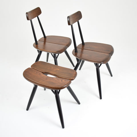 Shop Pair of Pirkka Chairs with Rare Stool by Ilmari Tapiovaara for Laukaan Puu, Finland, 1955 - Spirit Gallery