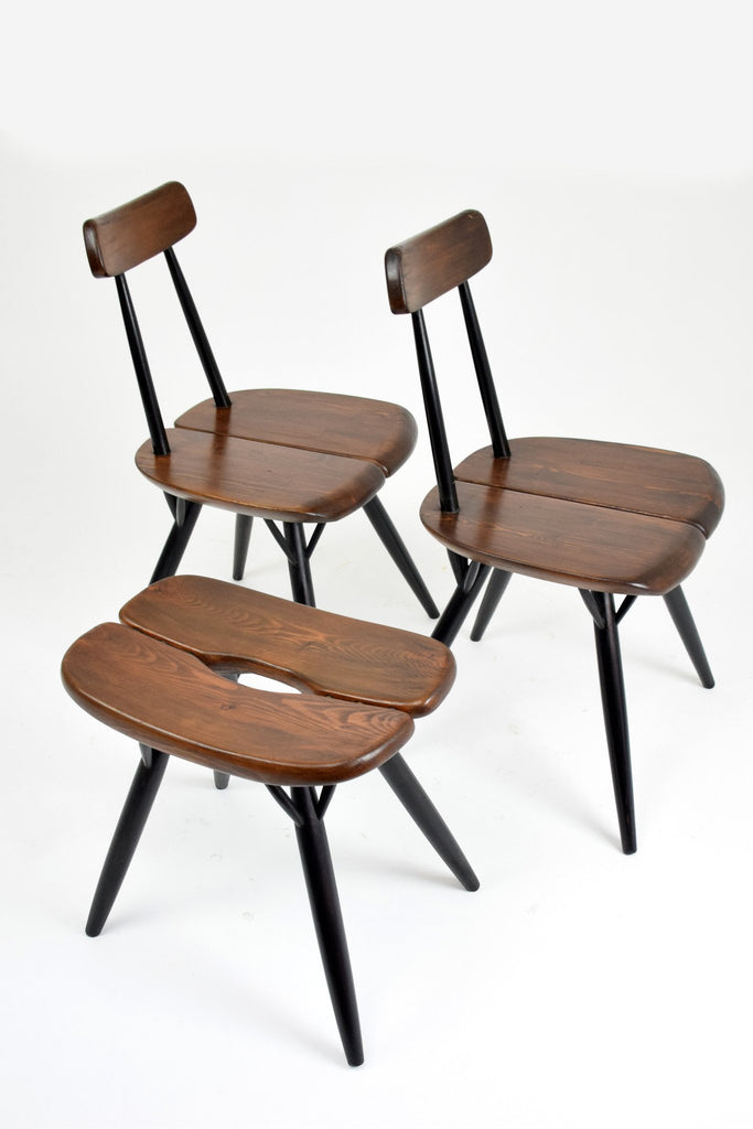 Pair of Pirkka Chairs with Rare Stool by Ilmari Tapiovaara for Laukaan Puu, Finland, 1955 - Spirit Gallery