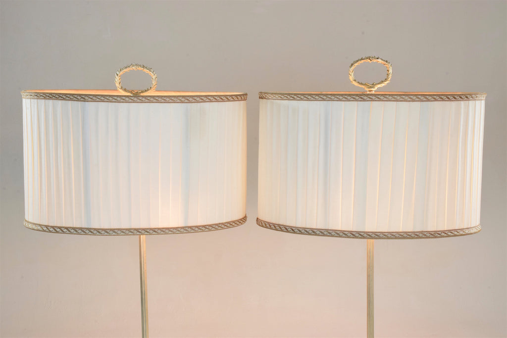 Pair of Silver Plated Flower Lamps, Spain, 1960s - Spirit Gallery
