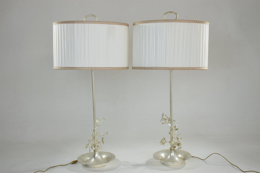 Shop Pair of Silver Plated Flower Lamps, Spain, 1960s - Spirit Gallery