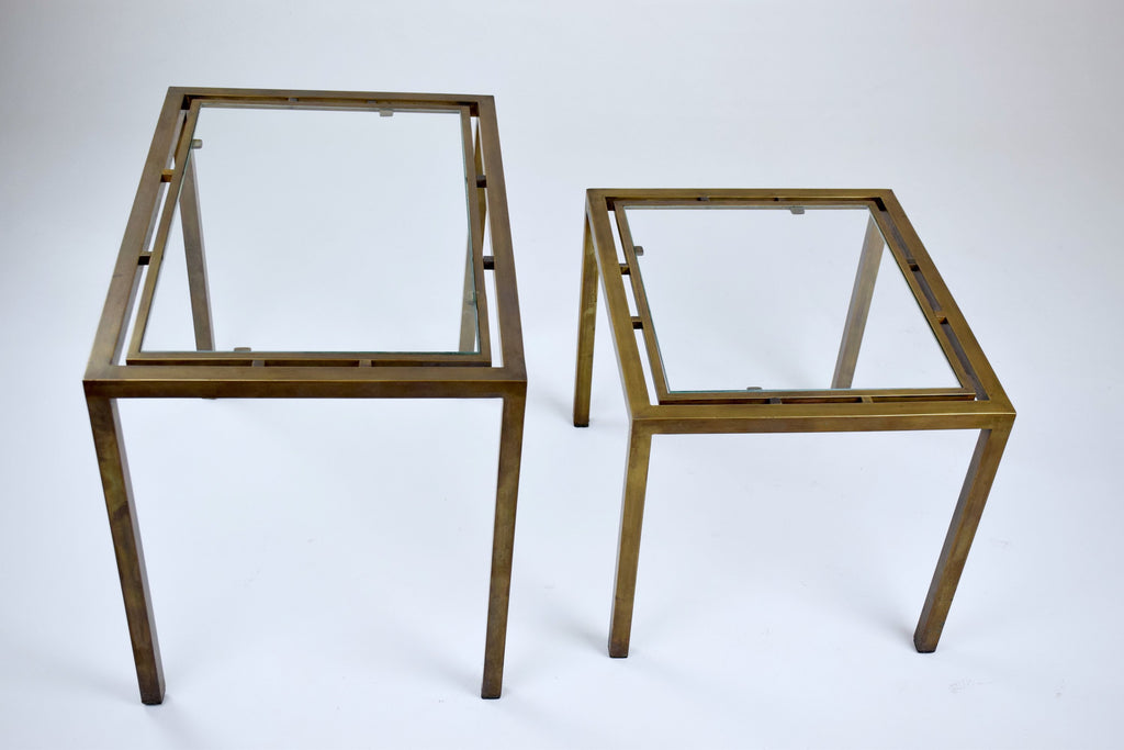 Shop Set of Two French Brass Nesting Tables, 1970s - Spirit Gallery