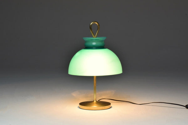 1950's Mid-Century Ignazio Gardella Turquoise Brass Table Lamp - Spirit Gallery