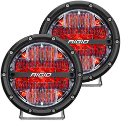 "360-SERIES 6"" DRIVING BEAM PATTERN (RED) BACKLIGHT / PAIR"