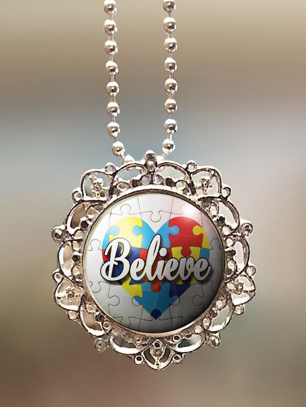 "1"" Lattice """"Autism Awareness Believe"" Pendant"
