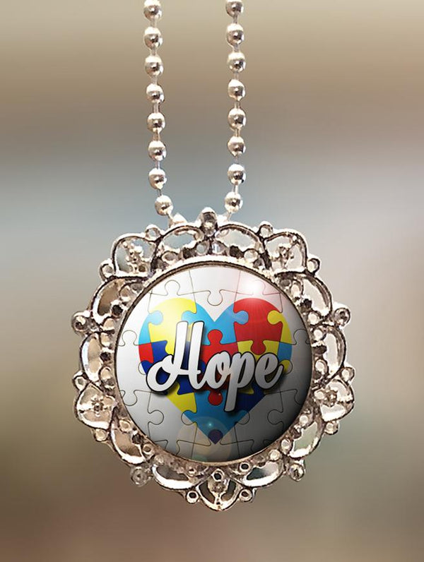 "1"" Lattice """"Autism Awareness Hope"" Pendant"