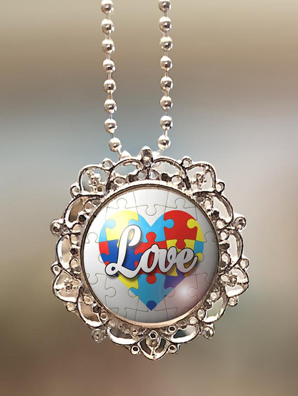 "1"" Lattice ""Autism Heart and Love"" Pendant"