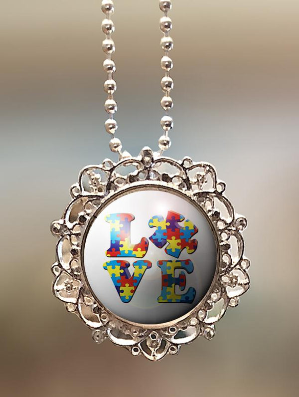 "1"" Lattice ""Autism Love"" Pendant"