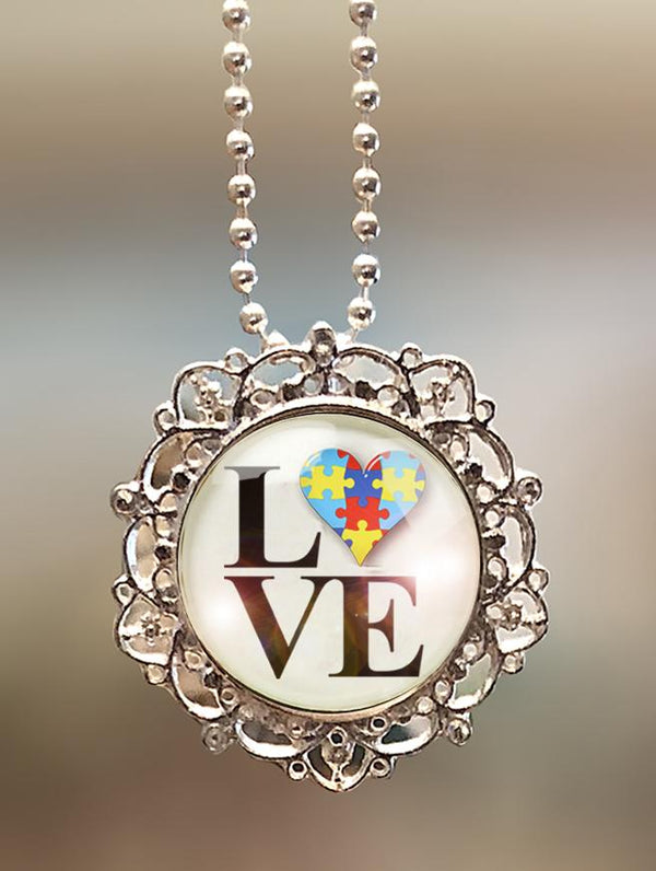 "1"" Lattice """"Autism LOVE Philly"" Pendant"