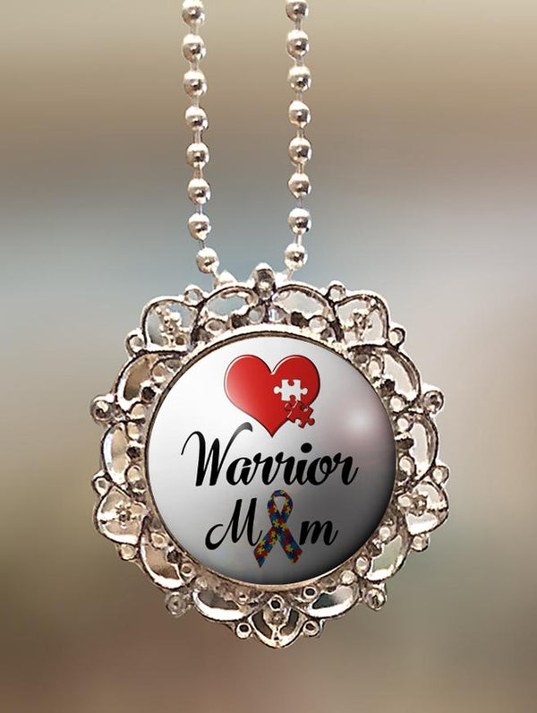 "1"" Lattice Autism ""Warrior Mom"" Pendant"