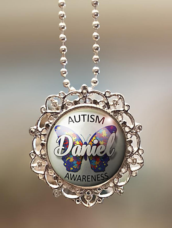 "1"" Lattice Personalized  ""Autism Awareness Butterfly"" Pendant"