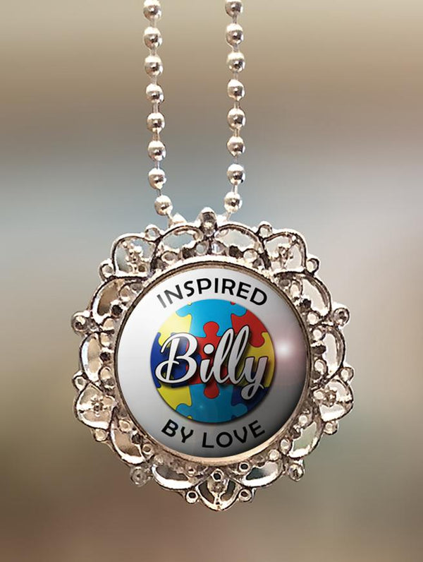 "1"" Lattice Personalized  ""Autism Awareness Inspired By Love"" Pendant"