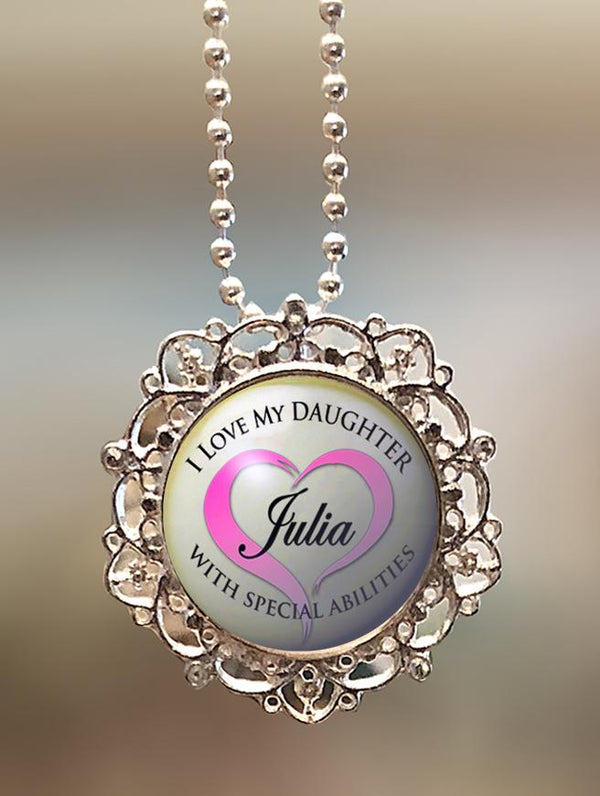 "1"" Lattice Personalized  ""I Love My Daughter with Special Abilities"" Pendant"