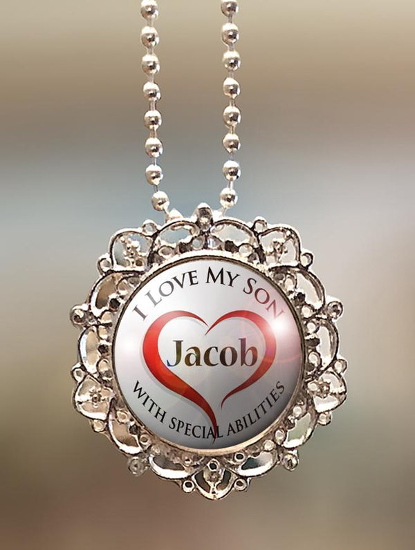"1"" Lattice Personalized  ""I Love My Son with Special Abilities"" Pendant"