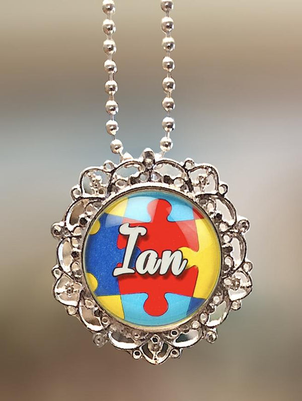 "1"" Lattice Personalized  ""Name on Puzzle"" Pendant"