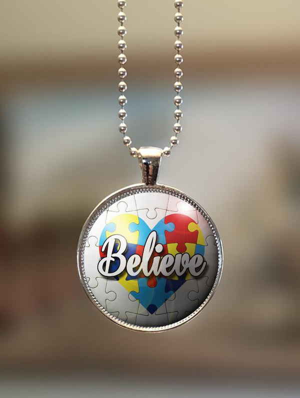 "1"" or 1.5"" Modern ""Believe with Heart"" Autism Awareness Pendant"