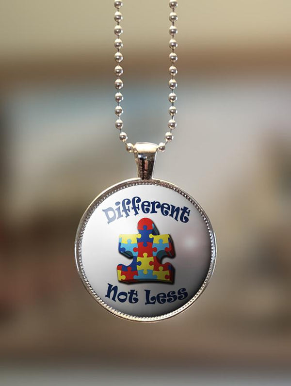"1"" or 1.5"" Modern ""Different, Not Less"" Autism Awareness Pendant"