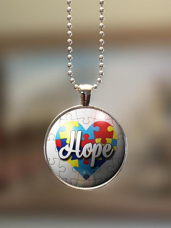 "1"" or 1.5"" Modern ""Hope on Heart"" Autism Awareness Pendant"