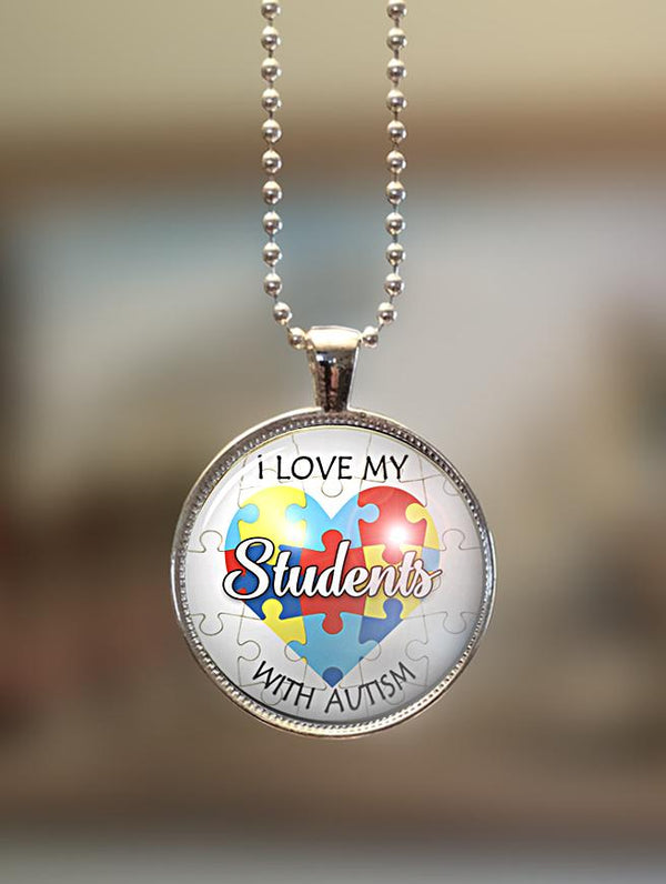 "1"" or 1.5"" Modern ""I Love My Students"" Pendant"