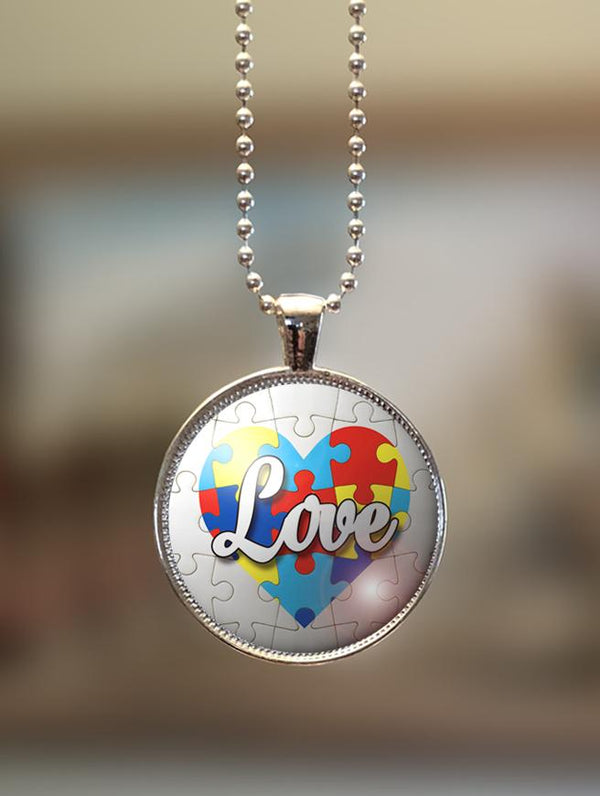 "1"" or 1.5"" Modern ""Love on Heart"" Autism Awareness Pendant"
