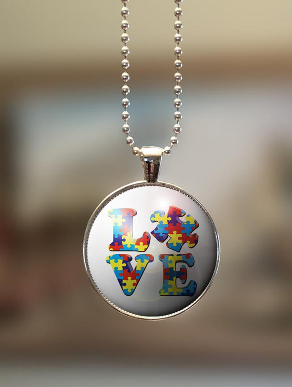"1"" or 1.5"" Modern ""Love Puzzle"" Autism Awareness Pendant"