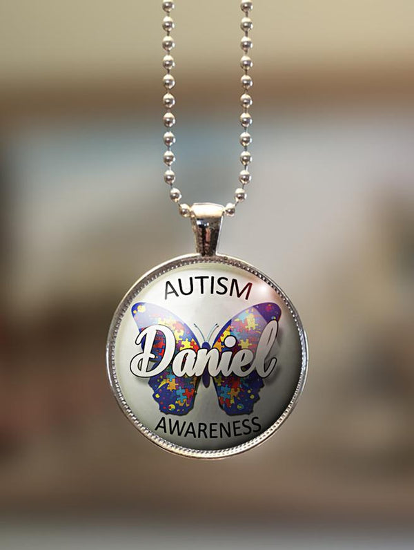 "1"" or 1.5"" Modern Personalized ""Autism Awareness Butterfly"" Pendant"