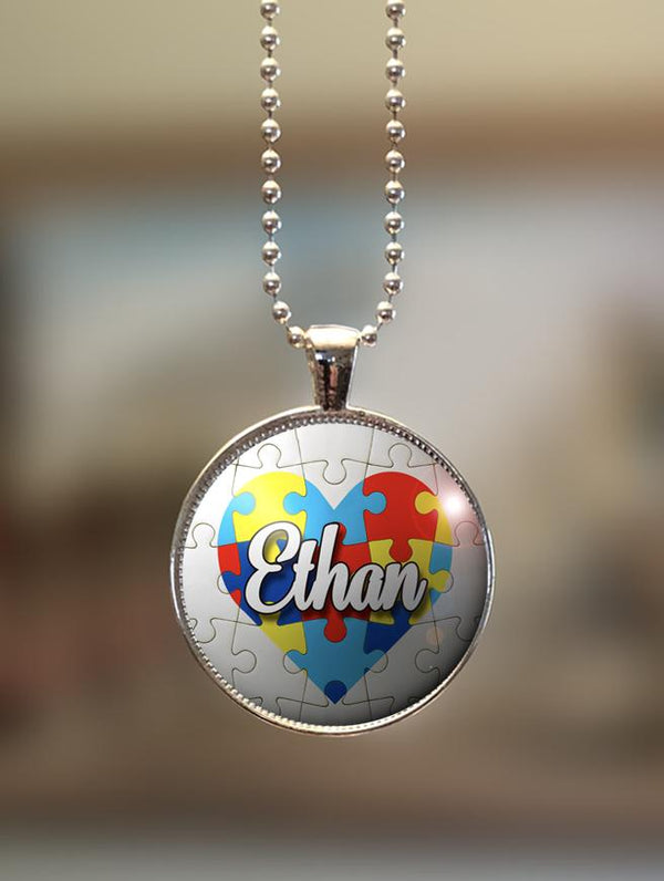 "1"" or 1.5"" Modern Personalized ""Autism Awareness Heart"" Pendant"