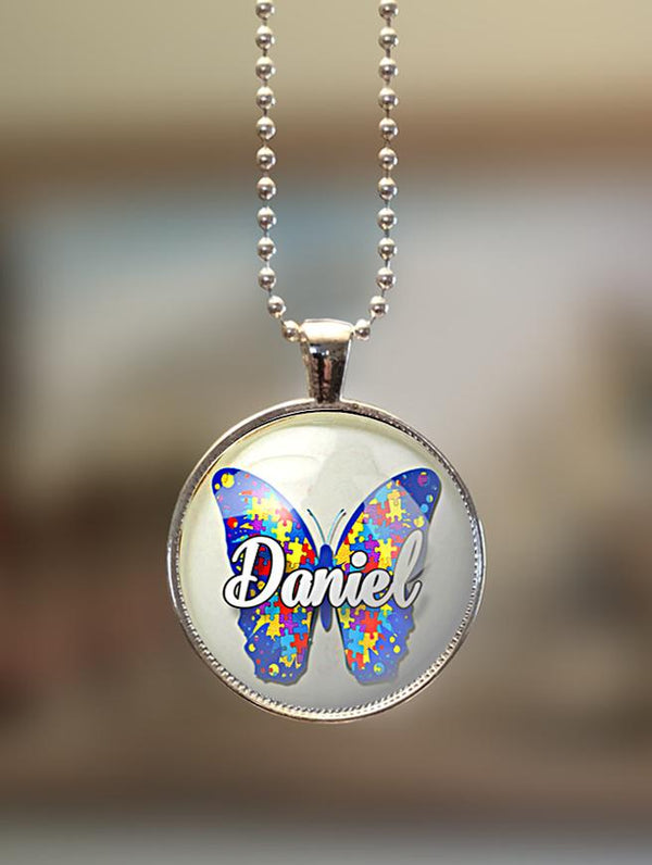 "1"" or 1.5"" Modern Personalized ""Butterfly"" Autism Awareness Pendant"