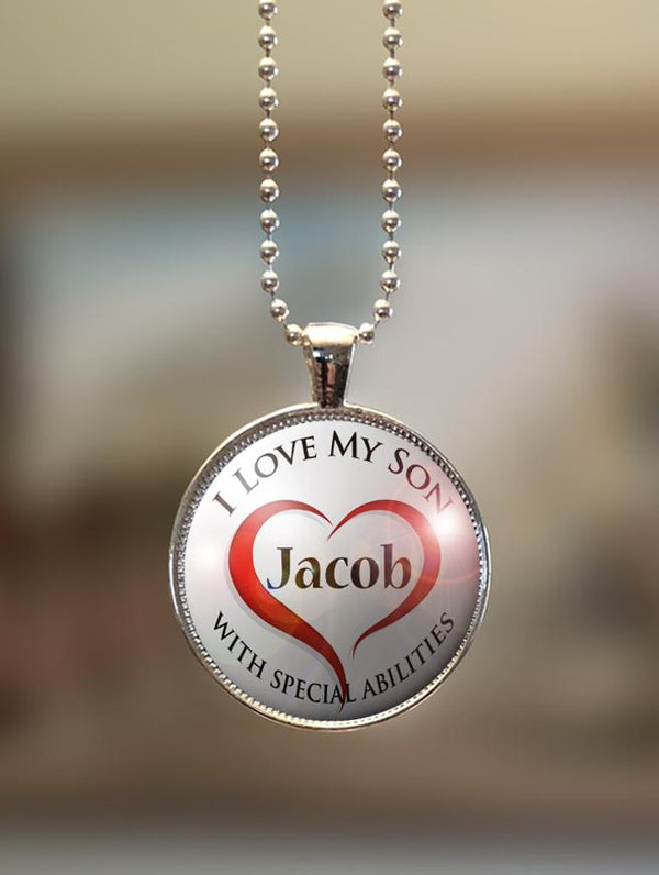 "1"" or 1.5"" Modern Personalized ""I Love My Son with Special Abilities"" Pendant"