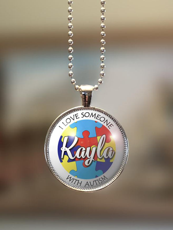 "1"" or 1.5"" Modern Personalized ""I Love Someone Puzzle"" Autism Awareness Pendant"