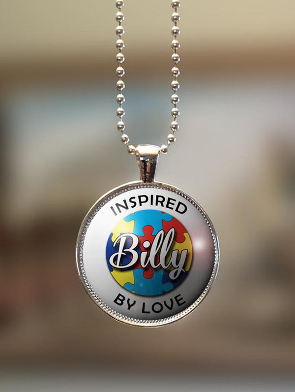 "1"" or 1.5"" Modern Personalized ""Inspired By Love"" Autism Awareness Pendant"