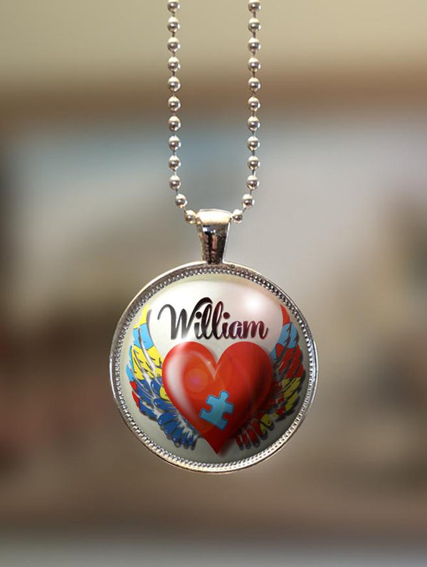 "1"" or 1.5"" Modern Personalized ""My Child is an Angel"" Autism Awareness Pendant"