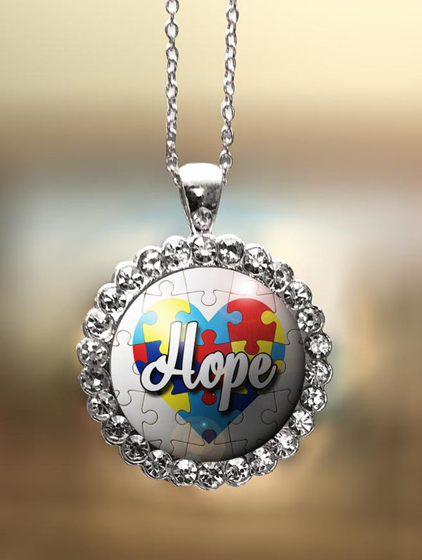 "1"" Rhinestone ""Autism Hope in Heart"" Pendant"