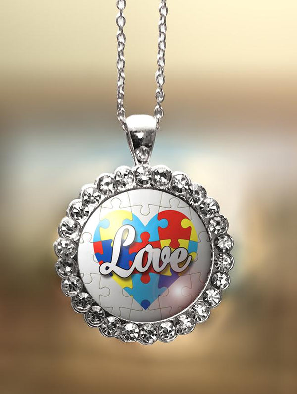 "1"" Rhinestone ""Autism Love in Heart"" Pendant"