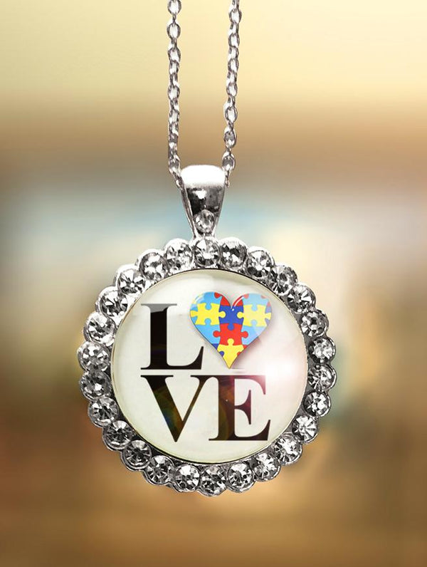 "1"" Rhinestone ""Autism LOVE Philly"" Pendant"