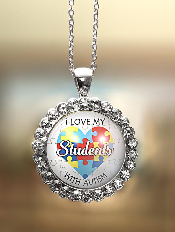 "1"" Rhinestone ""I Love My Students"" Pendant"