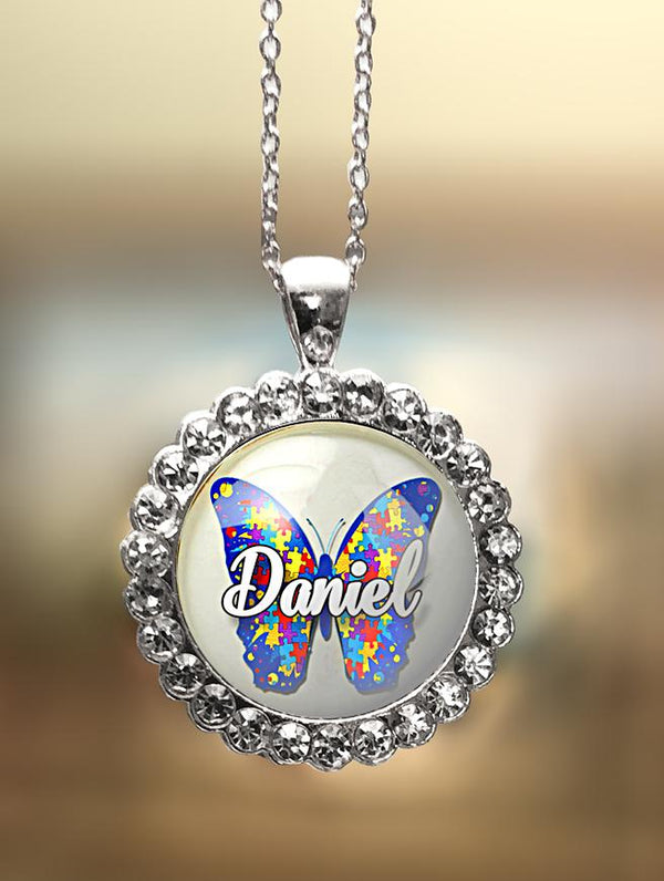 "1"" Rhinestone Personalized  ""Autism Awareness Butterfly"" Pendant"
