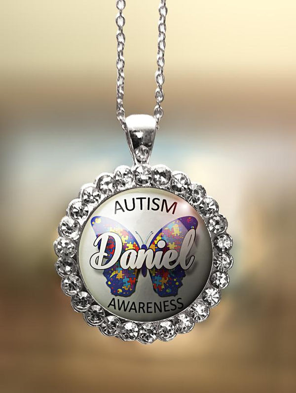 "1"" Rhinestone Personalized  ""Autism Awareness with I Love Butterfly"" Pendant"