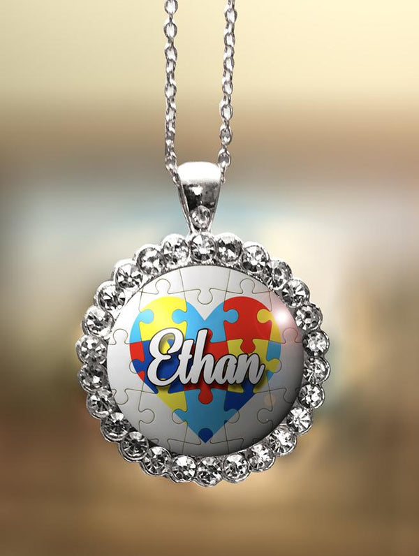 "1"" Rhinestone Personalized  ""Autism Heart with Name"" Pendant"