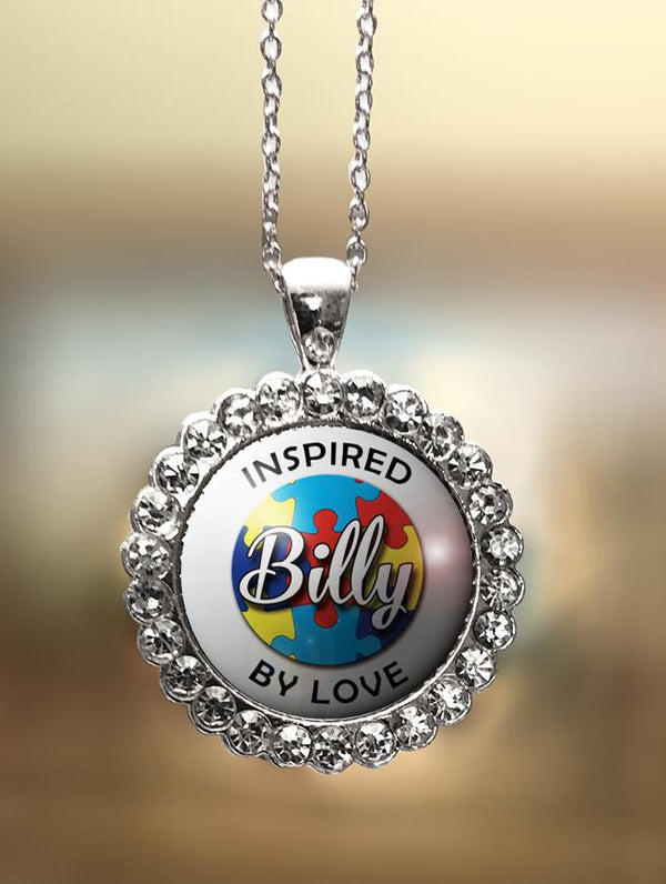 "1"" Rhinestone Personalized Autism ""Inspired By Love"" Pendant"
