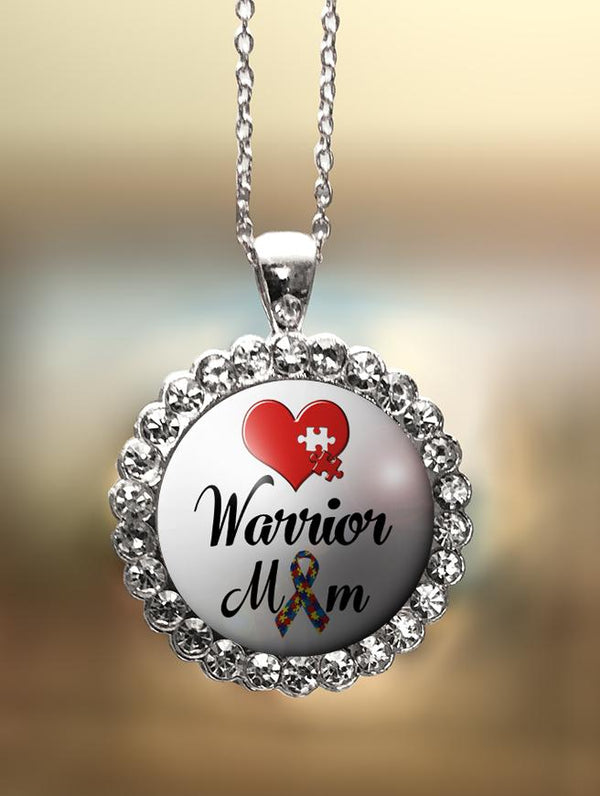 "1"" Rhinestone  ""Warrior Mom"" Pendant"