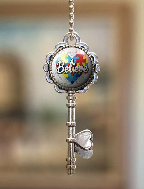 "Pendants - ""Autism Awareness Believe"" Key Pendant"