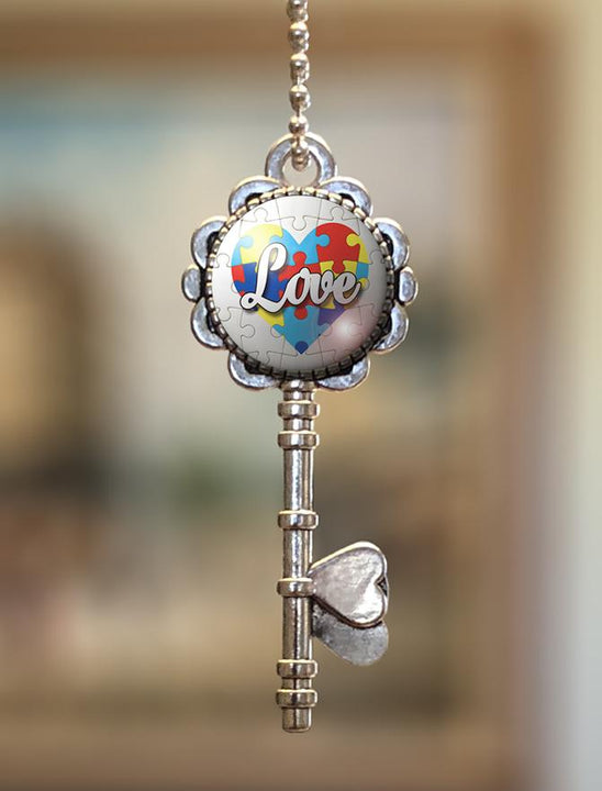 "Pendants - ""Autism Awareness Love"" Key Pendant"