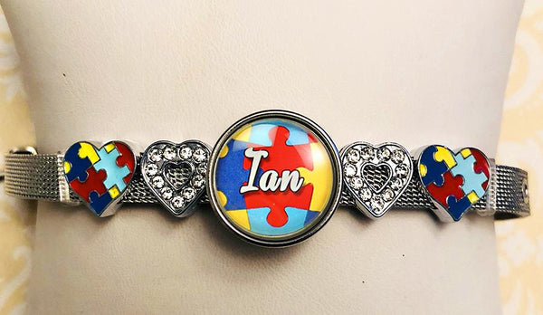 Autism Awareness Personalized Slide Charm Bracelet with Name