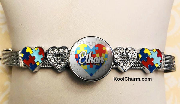 Autism Awareness Personalized Slide Charm Bracelet with Name in Heart