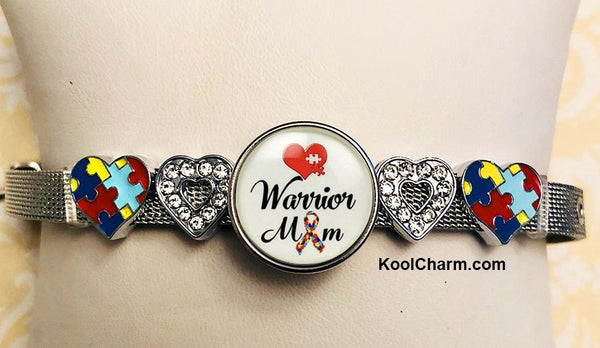 Autism Awareness Slide Charm Bracelet-WARRIOR MOM