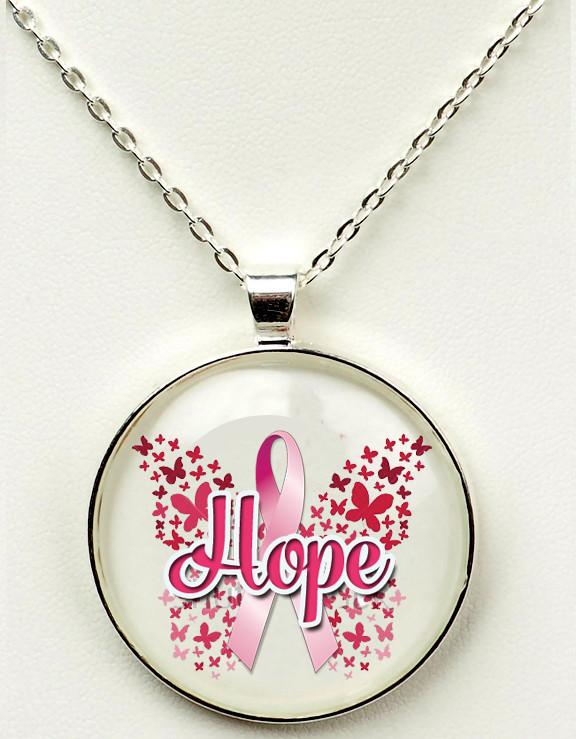 "Breast Cancer Awareness 1"" or 1.5"" Hope & Ribbon Pendant"