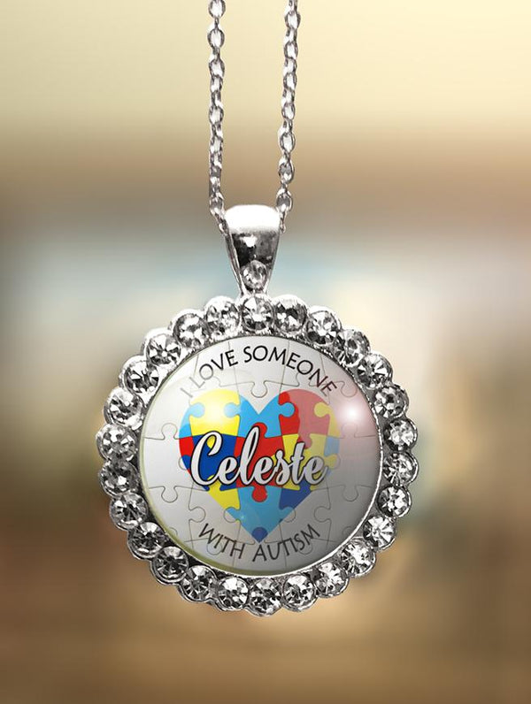 "Rhinestone Personalized Autism ""I Love Someone with Autism"" Pendant"